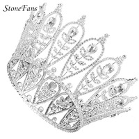 StoneFans Plant Crowns And Tiaras Pageants Full Round Leaf Bride Crystal Princess Crown Wedding Hair Accessories Hair Jewelry