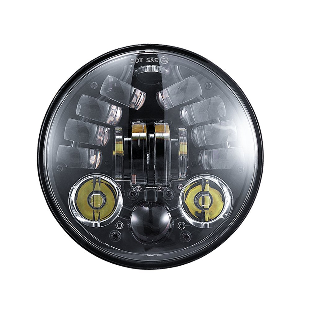 Fit for Harley Sportster, Iron 883/Dyna/Street Bob FXDB 5.75 inch Daymaker Projector LED Headlight E9 DOT SEA position lights