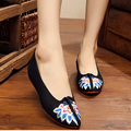 New Design summer sexy flower embroidery fashion women flats shoes Vintage ladies casual shoes simple canvas shoes