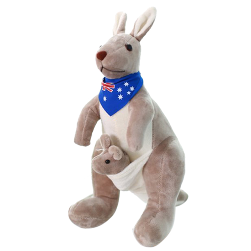 Lovely Mother Kangaroo with Baby Stuffed Animals Soft Kids Toy Plush Doll 25CM