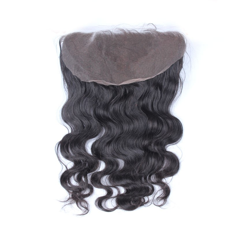 13x6 Lace Frontal Closure 100% Brazilian Human Hair Pre Plucked With Baby Hair Body Wave Deep Part Natural Black Color CARA Remy