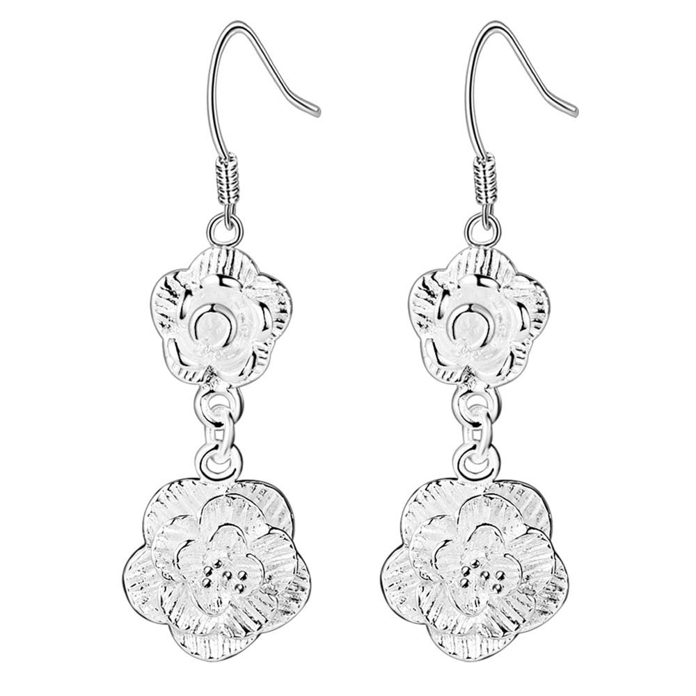 two flowers beautiful Top quality free shipping silver plated Earrings for women fashion jewelry PKPATZCU DOPMTDNL