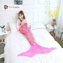 Liv-Esthete Fashion Pink Mermaid Throw Blanket Knitted Handmade Blanket Soft Sofa Best Gift For Adult Kids Child Blanket