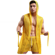 Sexy Men Robe Sleepwear Mesh Hoodie Sleep Lounge
