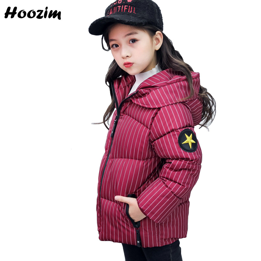 Winter Jacket For Girls 6 7 8 9 Years Fashion Kids Clothes Fashion Cotton Hooded Parka Children Autumn Red Warm Stripe Coat Boys три поросенка