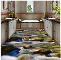 3D Floor Non slip Waterproof Self adhesive PVC Wallpaper Creek Stone Floor Painting Floor Tiles Modern Custom 3D Floor Mural
