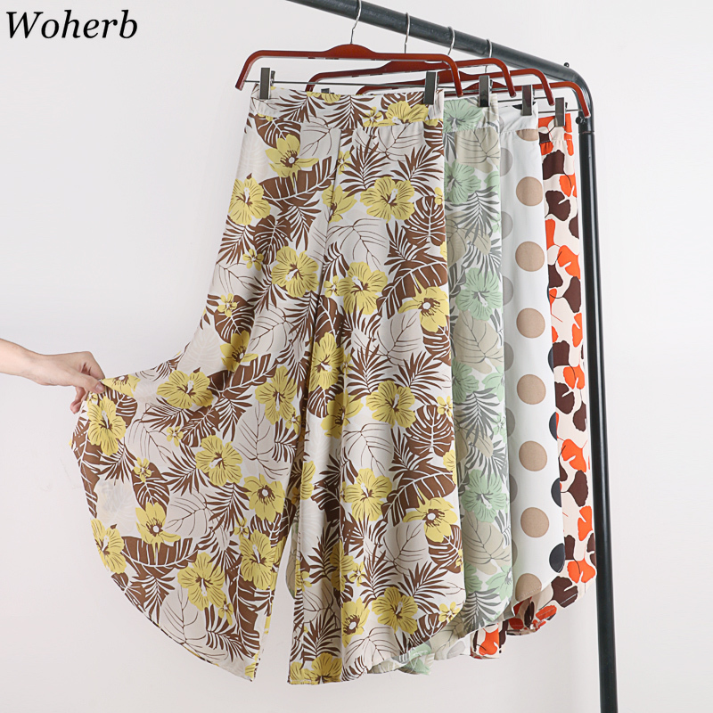 Woherb 2019 Summer Casual Thin High Waist   Wide     Leg     Pants   Vintage Floral Print Trousers Women Asymmetrical   Pant   Beach Pantalones