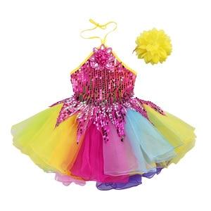 Image 3 - Tenue de danse pour enfants filles, robe Tutu à fleurs, col licou, paillettes colorées, salon de Ballet pour enfants