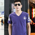 PLUS SIZE  2016 Summer Style T-shirt Men Cotton V-Neck Short Sleeve Solid Color Camisetas for Men 2XL-7XL TX761