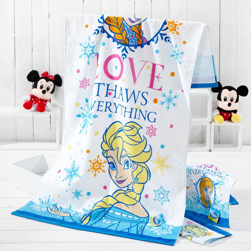 Disney cartoon towels 130*68/50*26/30*30 cm Authorized Goods Ice Romance Series Bath Towels Childrens Towels Square Towels