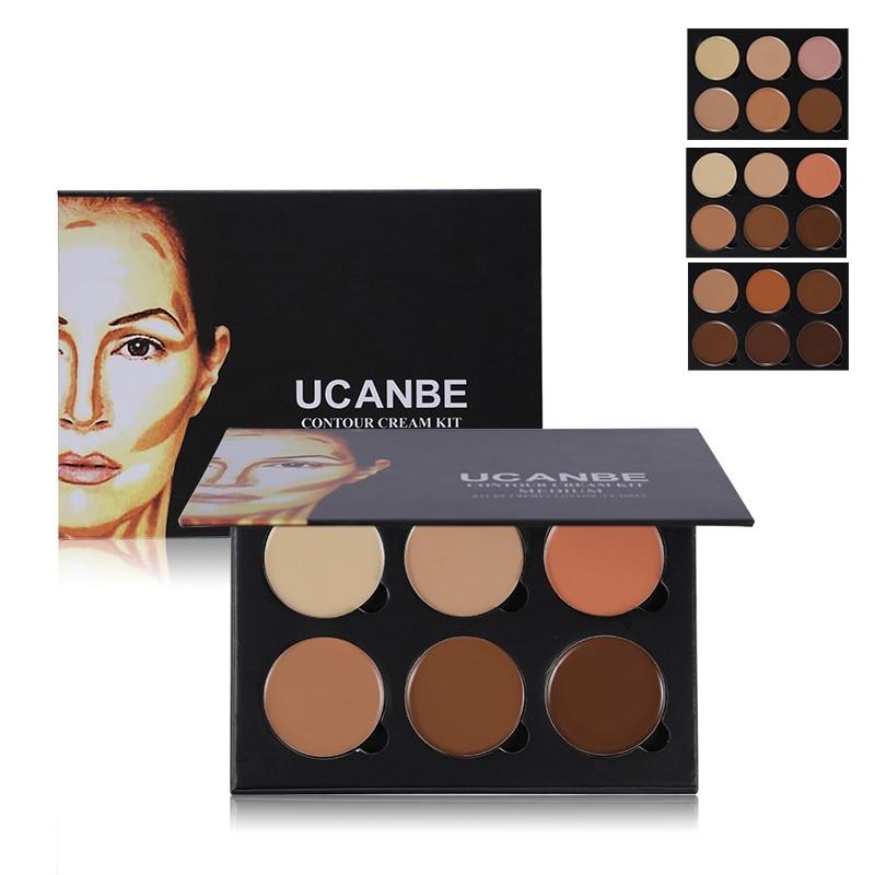6 Colors Makeup Pallete Maquiagem Eyeshadow Palette Foundation Highlighter Powder Paleta De Sombra Contour Palette Face Cream