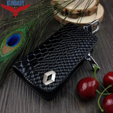 Snakeskin Leather Auto Car Key Remote Cover Case Holder Car Key Case Wallet Bag Ring Keychain For Renault
