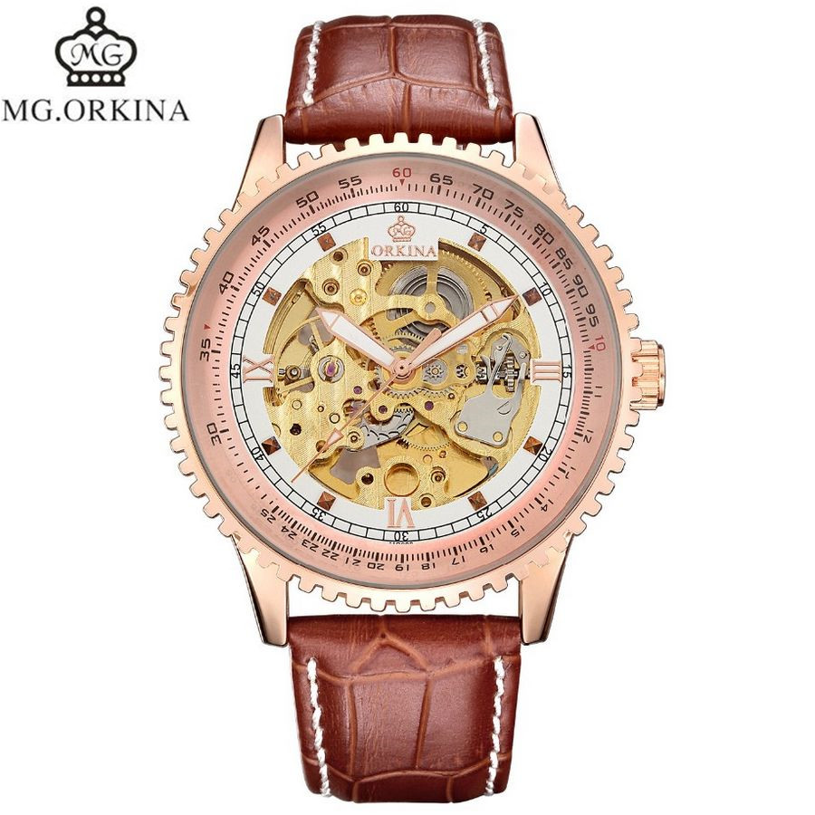 ФОТО MG.Orkina Luxury Orologio Uomo Rose Ram Mens Automatic Mechanical Wrist Watch Gift With Box Free Ship