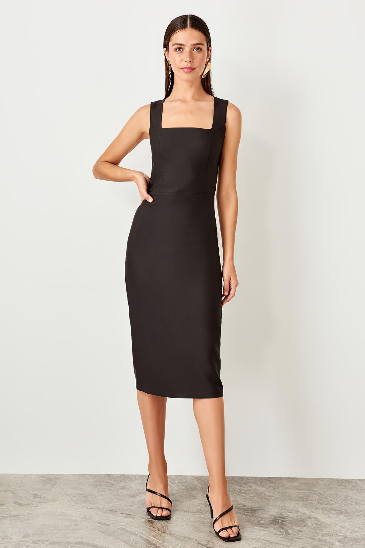 Trendyol Black Classic Dress TWOSS19BB0500