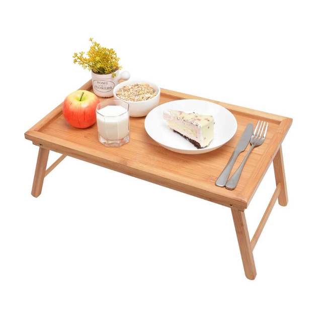 SUFEILE Wooden Folding Laptop Table Breakfast Serving Bed Trays, Adjustable Foldable with Flip Top and Legs Computer desk stand