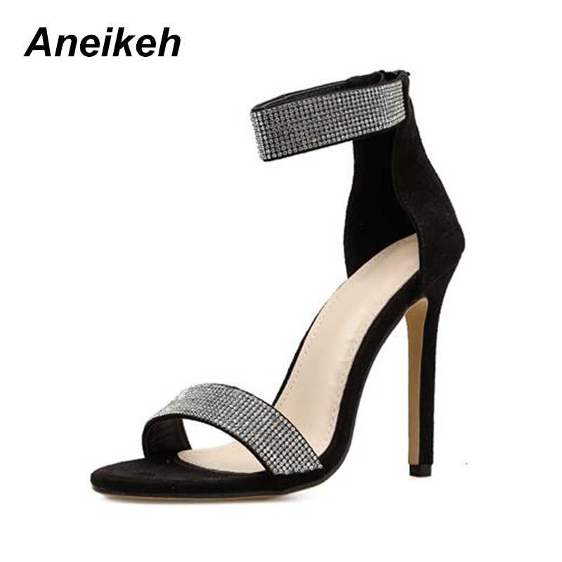 36f9711214 ... Aneikeh 2018 Bling Bling Rhinestone Stiletto High Heels Dress Wedding  Shoes For Ladies Open Toe Summer ...