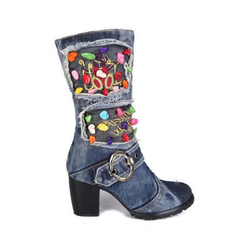 KNCOKAR/2018 г. Новая парусиновая обувь высокие сапоги на высоком каблуке с боковой молнией джинсовые Ботинки martin на толстой подошве с нескользящ... - 3