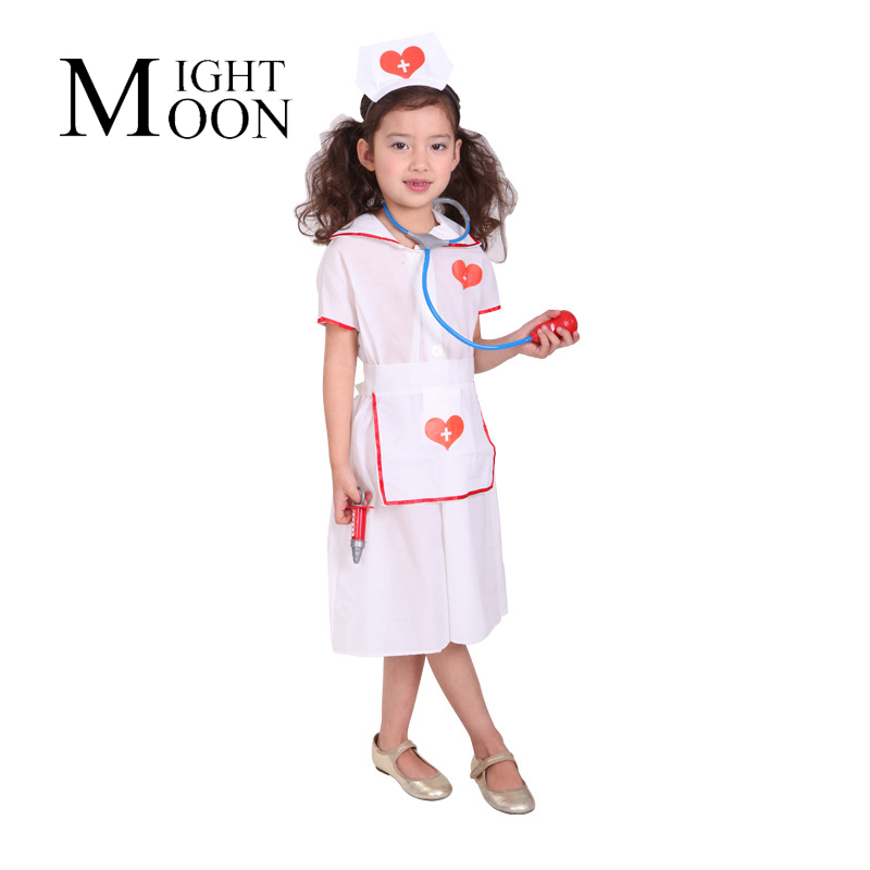MOONIGHT Kids Nurse Costume Outfit Halloween Costume For Kids Nurse Costume For Children Fancy Dress