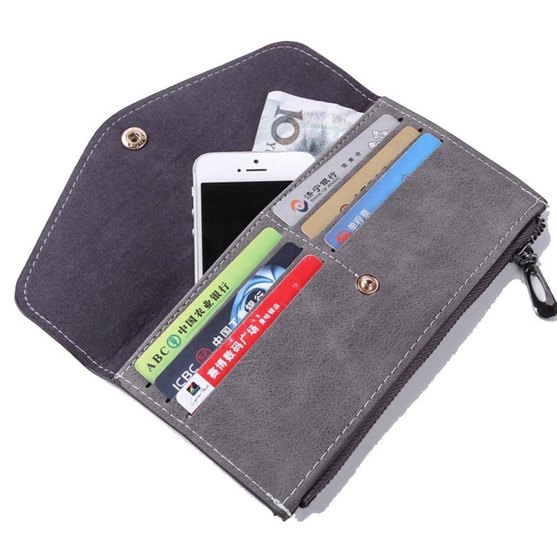 Matte Women's Wallet PU Leather Female Wallet Purse Nubuck Fashion Card Holder Phone Pocket Long Hasp Women Wallet Zipper Bag