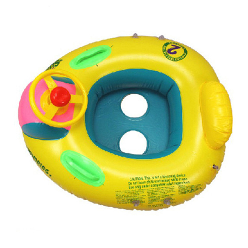 Inflatable Swimming Ring Cute Baby Swimming Pool Float Children Seat With Steering Wheel For Swimming Random Type