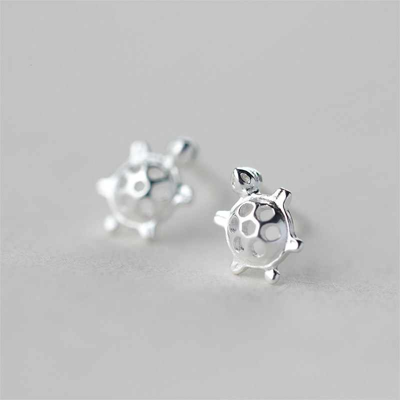 New Arrival 925 Sterling Silver Hypoallergenic Tortoise Stud Earrings For Women Sterling-silver-jewelry pendientes