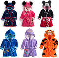 Retail Children Pajamas Robe girls boys New Micky Minnie Mouse Tigger Bathrobes Kids Baby Cartoon Home Wear Free Shipping