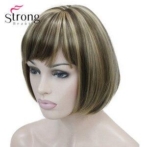 Image 5 - StrongBeauty Llight חום עם זנגביל Hilight לערבב נשים קצר בוב ישר מלא פאה סינתטית עבור כל יום