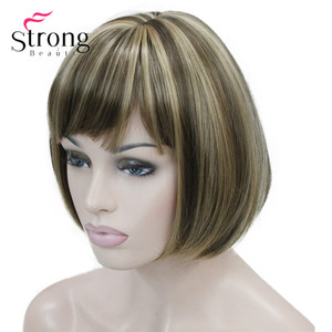 Image 5 - Strongbeauty llight brown with ginger hilight mix 여성용 숏 밥 스트레이트 전체 합성 가발