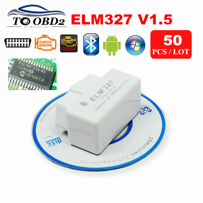 50pcs/Lot Super MINI ELM327 V1.5 Supports All OBD2 Protocols OBD OBDII Code Reader ELM 327 Bluetooth Works Android