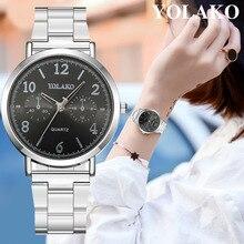 YOLAKO Luxury Brand Geneva Watch Women Fashion Stainless Steel Analog Ladies Qua