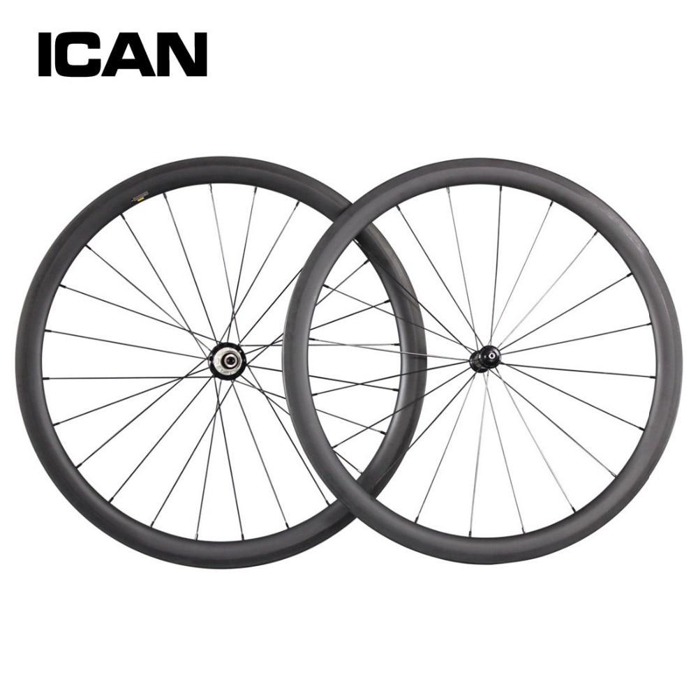 ICAN 40mm clincher carbon wheels 700c carbon hub road bike wheelset 27mm width Basalt surface bicycle wheel W40C