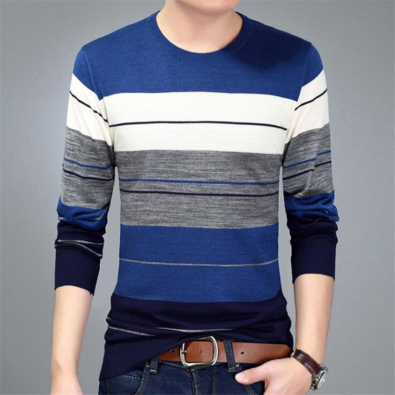 Fashion Brand Men's Sweater Top Autumn Winter Men Splice Casual Striped Sweater Mens Slim Fit Brand Knitted Pullovers M-3XL
