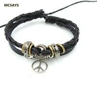 Nautical Jewelry Peace Sign Pendant Bracelet Bangles Leather Rope Chain Punk Style Men S Adjustable Bracelet
