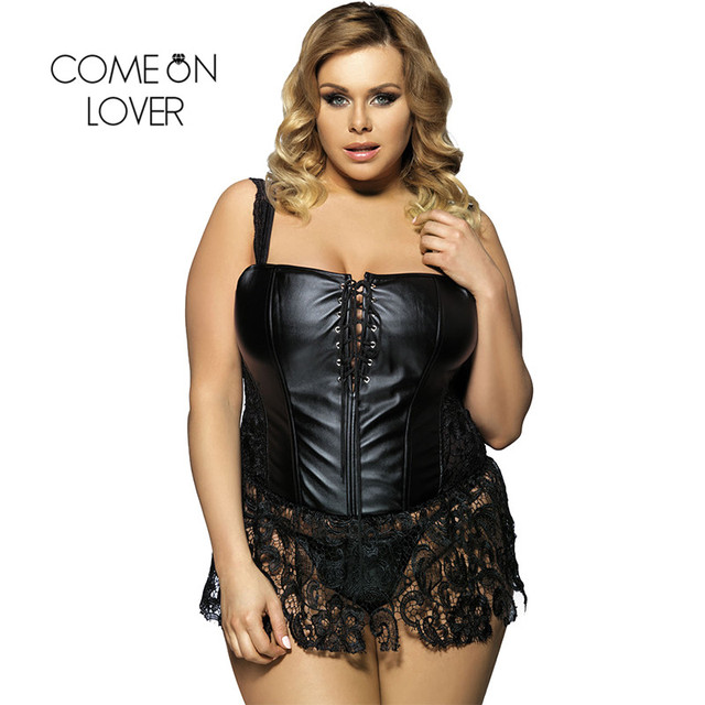 5e4ae065a AI2227 S-6XL Sexo Plus Size Lingerie Faux Leather   Lace Burlesque  Espartilho Preto Steampunk