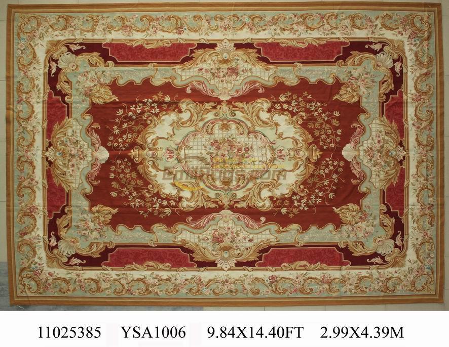 Tricot canapé couverture laine de mouton naturelle Aubusson aiguille Point Tapestr élégant Floral Antique noué à la mainAubusson en laineTapis