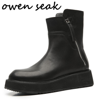 Owen Seak Men Ankle Boots High-TOP Luxury Trainers Cow Genuine Leather Winter Boots Casual Sneaker Brand Zip Flat Black Shoes