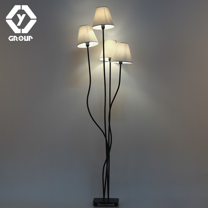 OYGROUP 4 Heads Floor Lamp with Beige Lampshade Contemporary Stylish Elegance Floor lighting for Foyer Bedroom Hotel Office