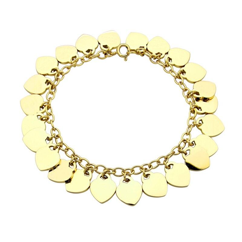 SHINEXIN 1:1 S925 argent Sterling véritable TIFF or multi-forme de coeur pendentif Bracelet femmes de luxe bijoux haut de gamme
