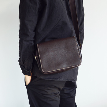 LANSAPCE leisure men's leather shoulder bag handmade leather messenger bag