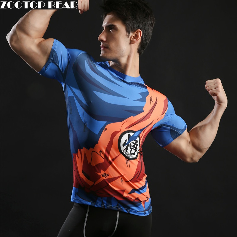 2017 New Men's Fashion Goku Dragon Ball 3D Print Casual Short Sleeve Cosplay T-Shirt Compression Tshirts Fitness ZOOTOP BEAR