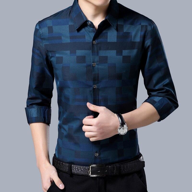 Liseaven Men's Shirt Brand New Men Shirts Full Sleeve Dress Shirt Turn-down Collar Male Casual Shirt Mens Clothing 4