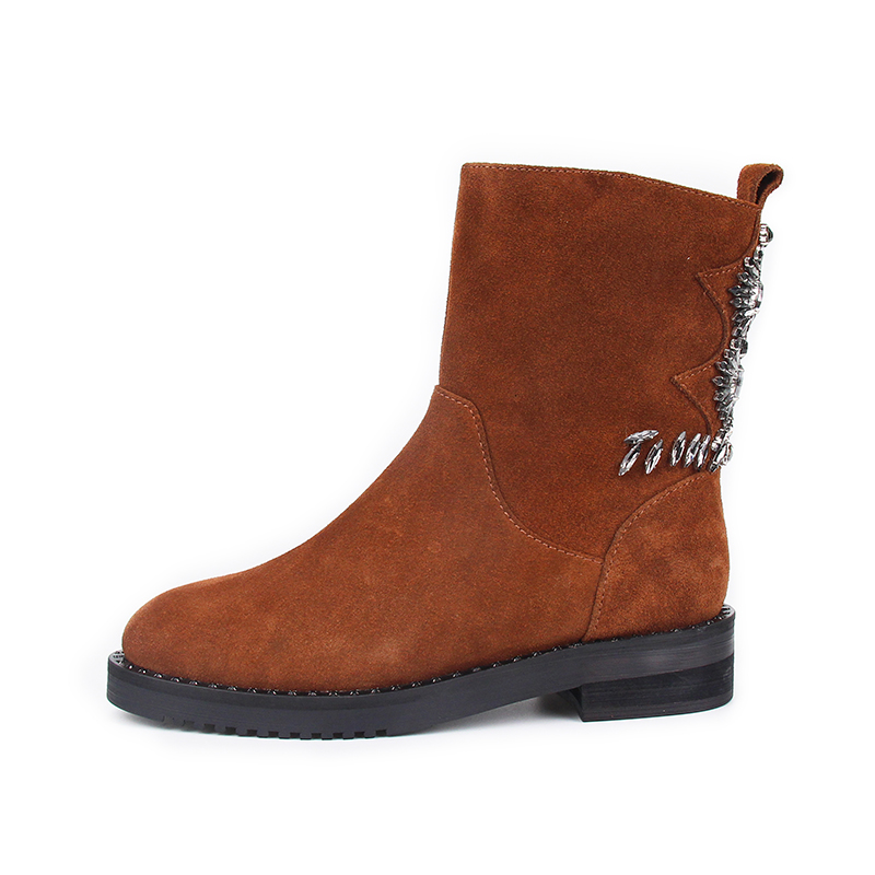 Negro Nueva naranja Invierno De Pantorrilla Bajo Cristal S marrón Hecho Zapatos Llegada Botas La Chico Las Mujer Mujeres Tacón Mitad A Mano 2018 Señoras q1Xxdvgw