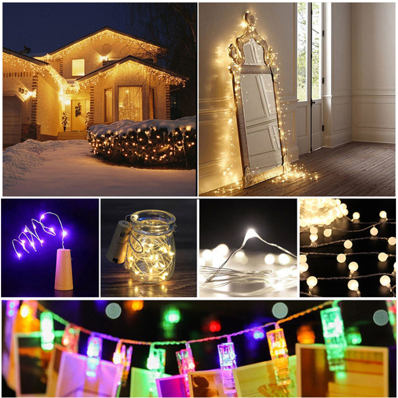0.8-5m Photo Clip LED String Lights Wire Starry Lights Christmas festival wedding decoration mariage Supplies Garland Decor