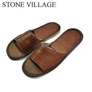 Image 3 - 스톤 빌리지 정품 가죽 신발 홈 슬리퍼 고품질 암소 가죽 실내 신발 남성과 여성 신발 여름 크기 35 45