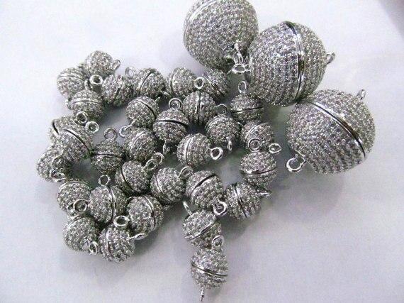 12 pièces 8-16mm Micro Cristal Pave Diamant Fermoirs Magnétique Bijoux Fermoir Boule Ronde en or rose argent antique Bronze Connecteur