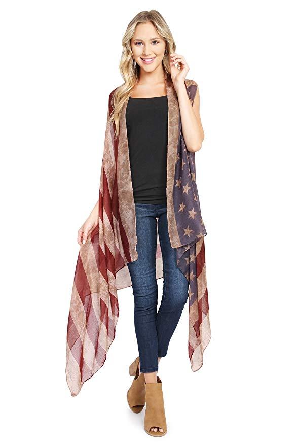 American Flag Cardigan July 4th USA Stars And Stripes Pattern Lightweight Shawl Kimono Vest