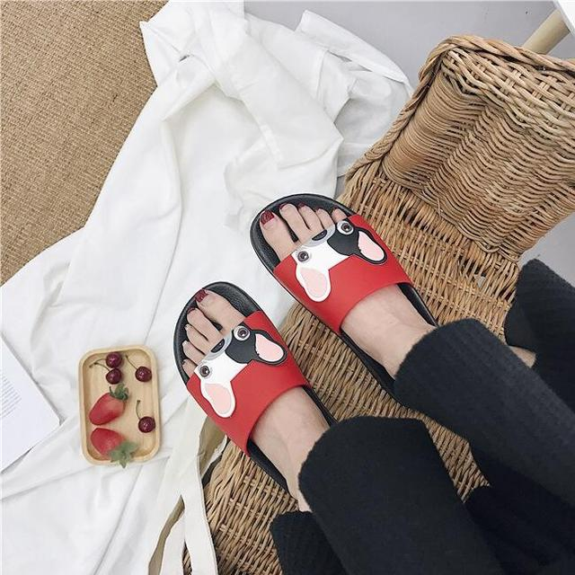 2019 new women summer flip flop student cute dog word slip non-slip bottom wear slippers
