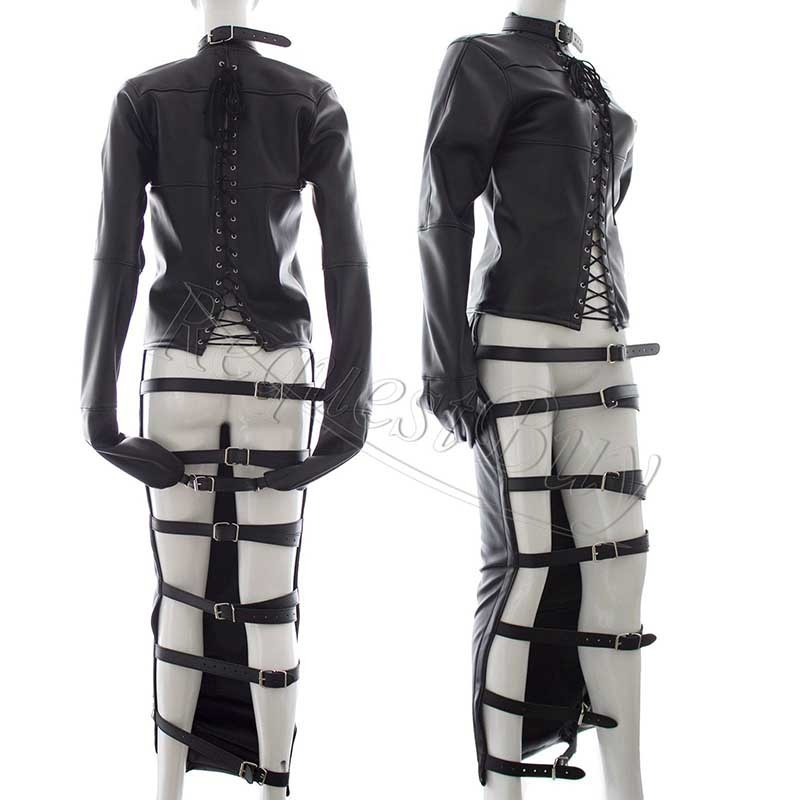 Women Faux Leather Full Body Harness Open Butt Long Dress Straitjacket Spanking Restraint Fetish Costumes