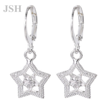 wholesale , For Lady women silver color earrings star charms wedding hook CUTE Bohemia fashion classic jewelry LE044 3