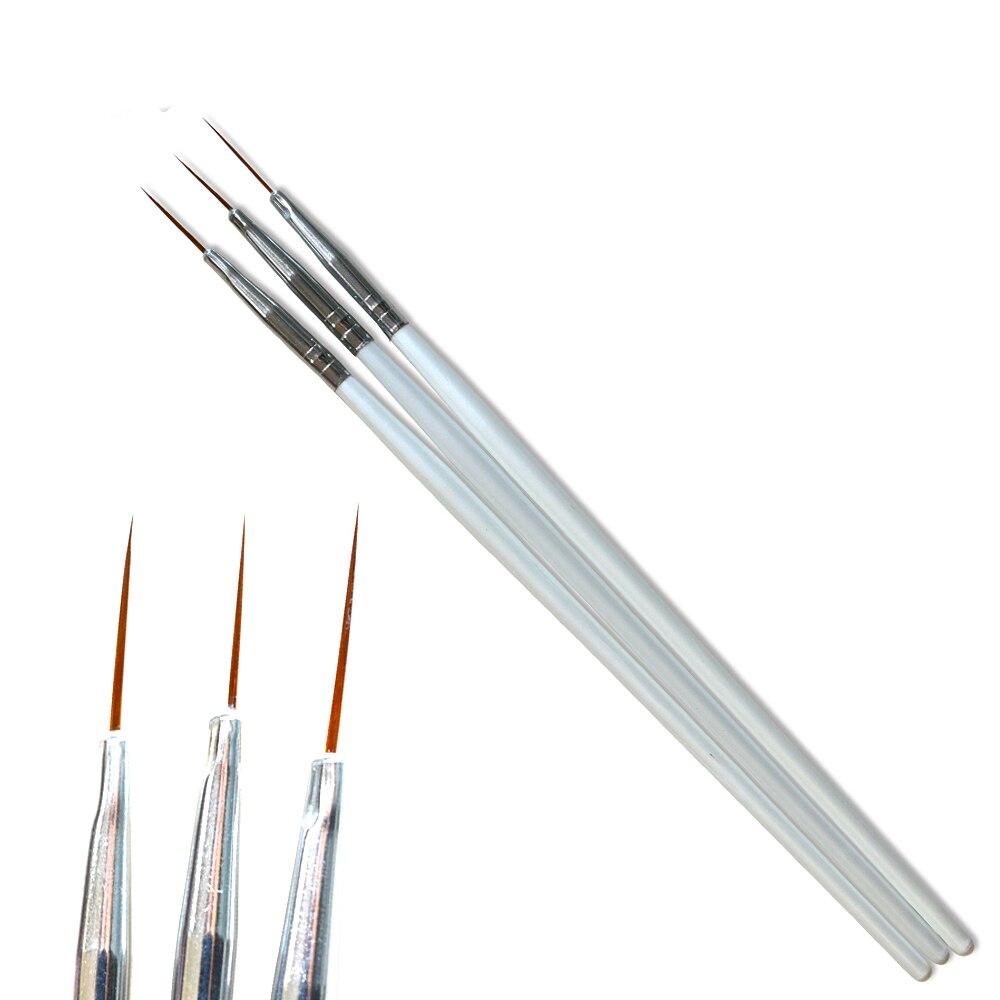 3 pièces/ensembles brosse à ongles blanc poignée revêtement rayures brosse bricolage vernis Gel stylo à ongles pour manucure artisanat outils # TR30